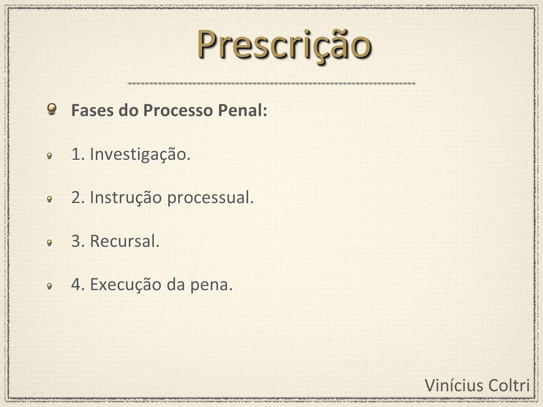 Prescrição Fases do Processo Penal: 1. Investigação.
