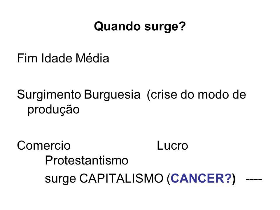 Quando surge Fim Idade Média. Surgimento Burguesia (crise do modo de produção. Comercio Lucro Protestantismo.