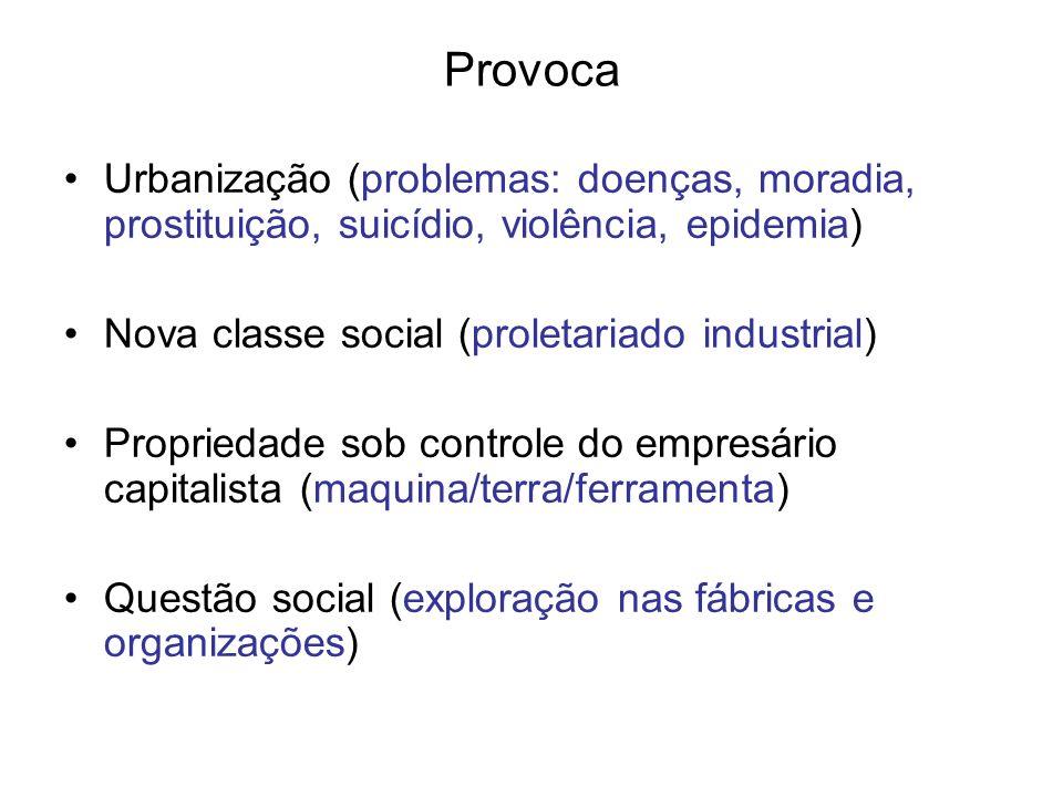 Provoca Urbanização (problemas: doenças, moradia, prostituição, suicídio, violência, epidemia) Nova classe social (proletariado industrial)