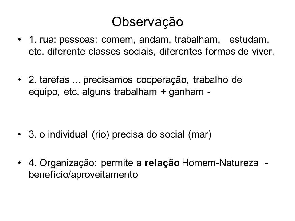 Observação 1. rua: pessoas: comem, andam, trabalham, estudam, etc. diferente classes sociais, diferentes formas de viver,