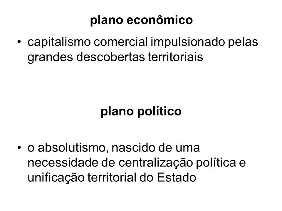 plano econômico capitalismo comercial impulsionado pelas grandes descobertas territoriais. plano político.