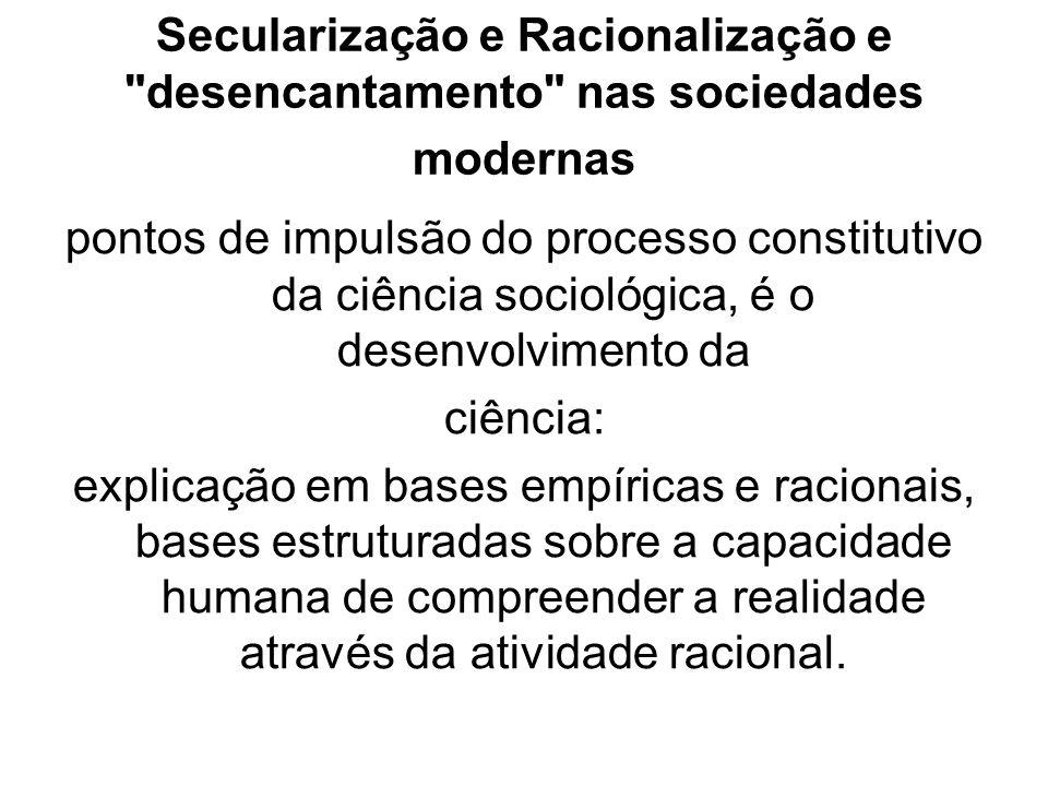 Secularização e Racionalização e desencantamento nas sociedades modernas