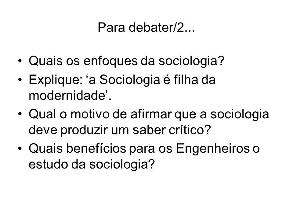 Para debater/2... Quais os enfoques da sociologia Explique: 'a Sociologia é filha da modernidade'.