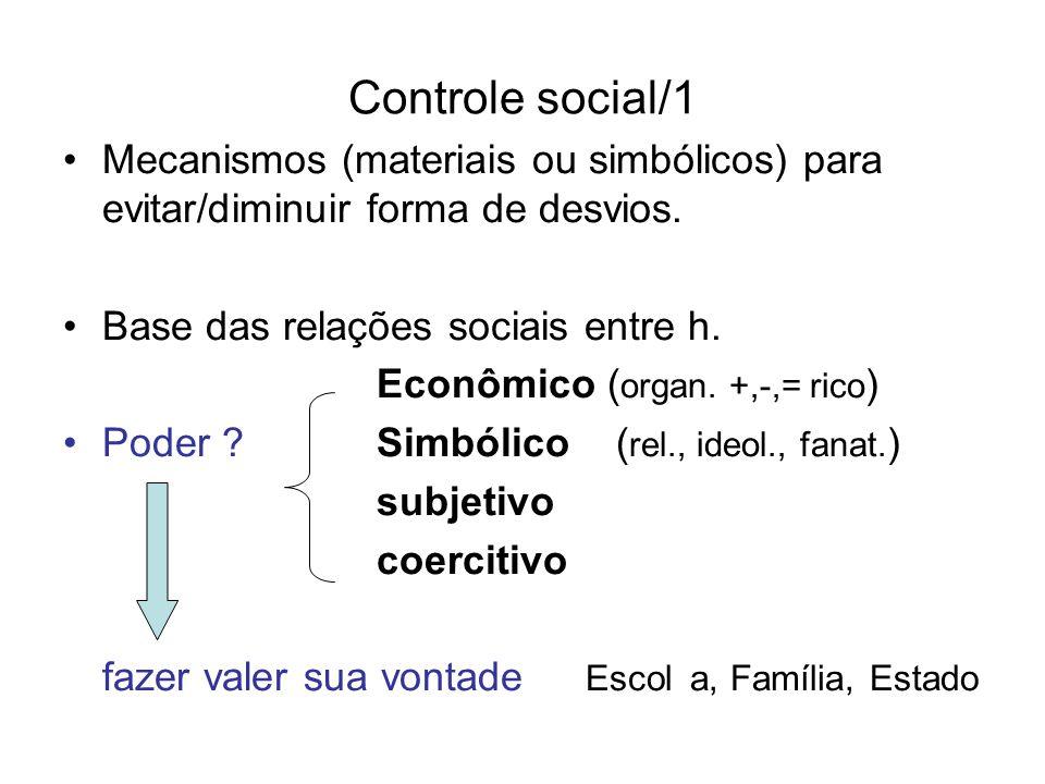 Controle social/1 Mecanismos (materiais ou simbólicos) para evitar/diminuir forma de desvios. Base das relações sociais entre h.