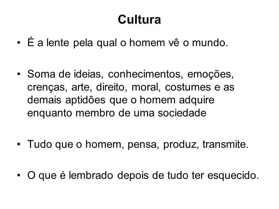 Cultura É a lente pela qual o homem vê o mundo.