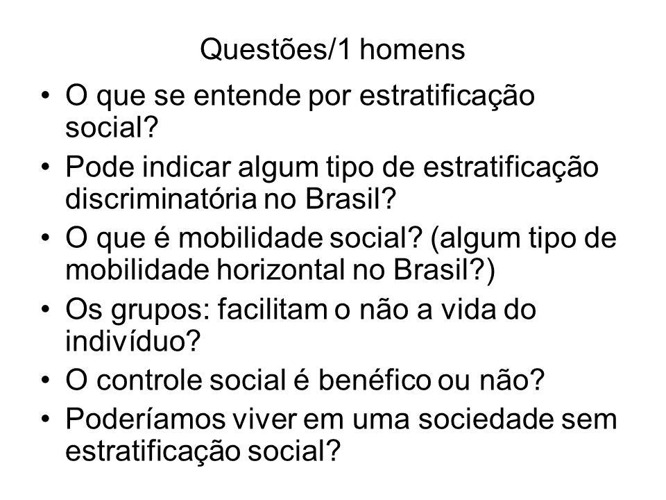 Questões/1 homens O que se entende por estratificação social Pode indicar algum tipo de estratificação discriminatória no Brasil