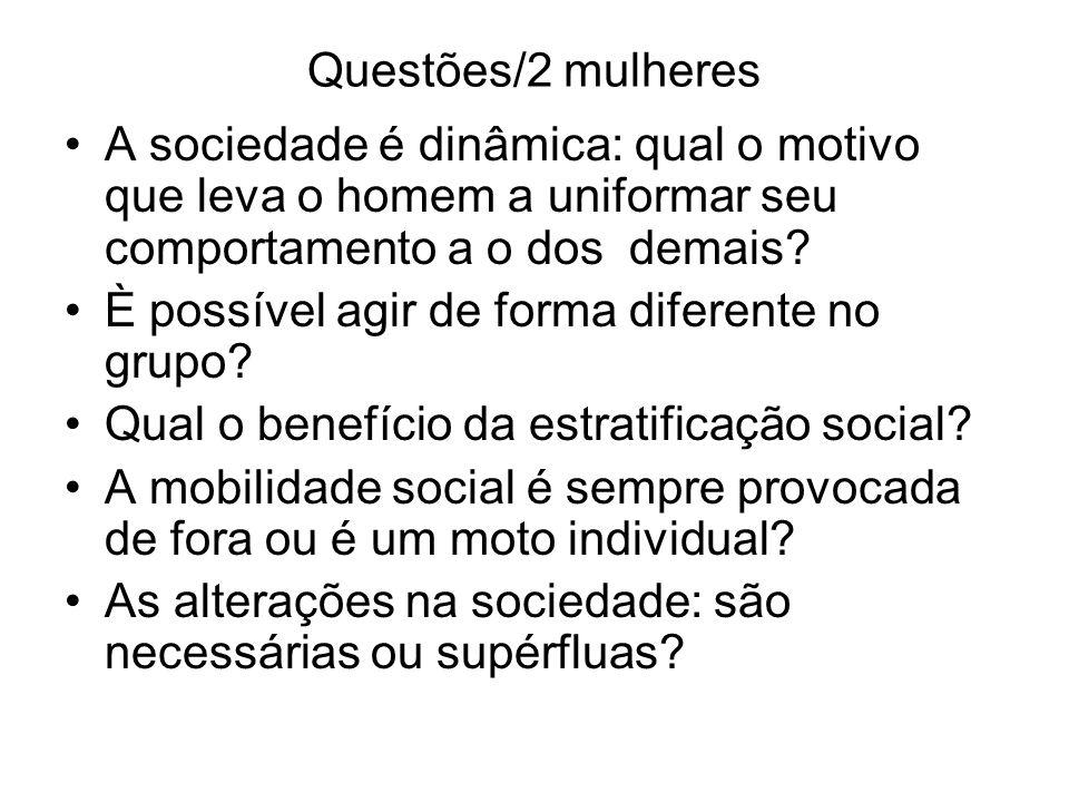 Questões/2 mulheres A sociedade é dinâmica: qual o motivo que leva o homem a uniformar seu comportamento a o dos demais