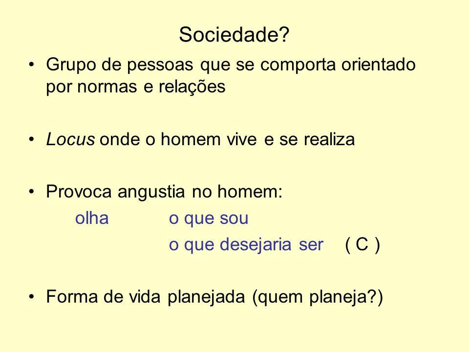 Sociedade Grupo de pessoas que se comporta orientado por normas e relações. Locus onde o homem vive e se realiza.
