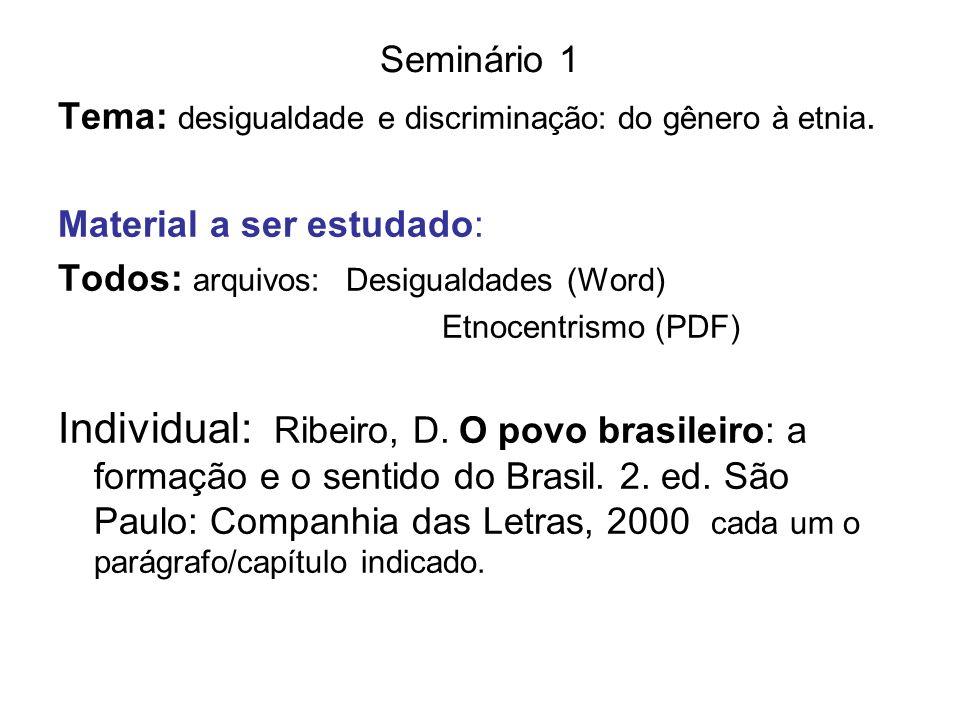 Seminário 1Tema: desigualdade e discriminação: do gênero à etnia. Material a ser estudado: Todos: arquivos: Desigualdades (Word)