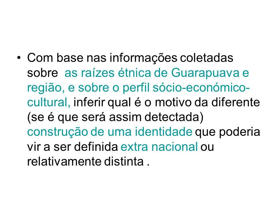 Com base nas informações coletadas sobre as raízes étnica de Guarapuava e região, e sobre o perfil sócio-económico-cultural, inferir qual é o motivo da diferente (se é que será assim detectada) construção de uma identidade que poderia vir a ser definida extra nacional ou relativamente distinta .