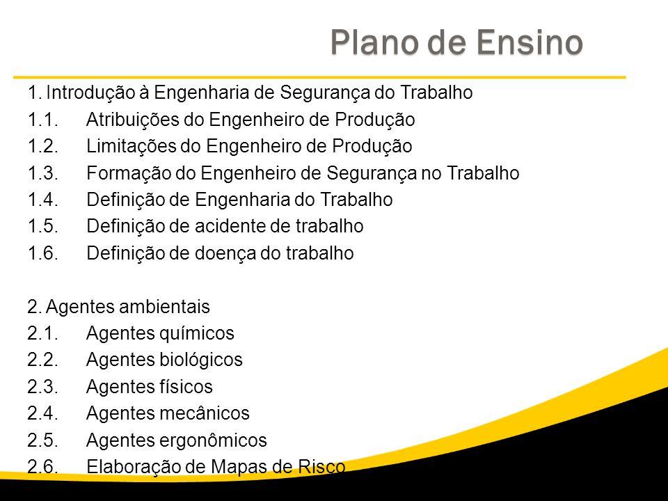 Plano de Ensino 1. Introdução à Engenharia de Segurança do Trabalho