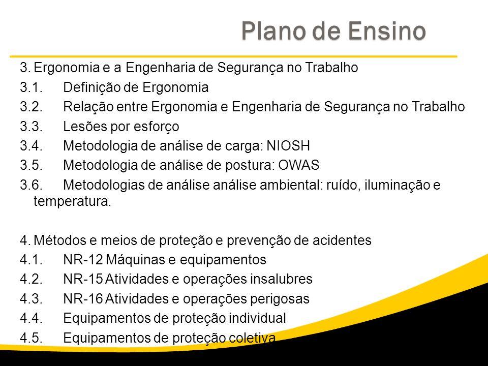 Plano de Ensino 3. Ergonomia e a Engenharia de Segurança no Trabalho