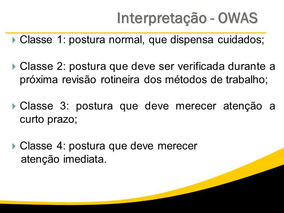 Interpretação - OWAS Classe 1: postura normal, que dispensa cuidados;