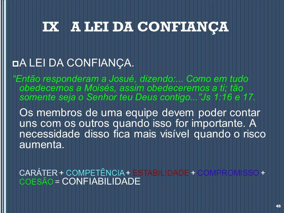 IX A LEI DA CONFIANÇA A LEI DA CONFIANÇA.