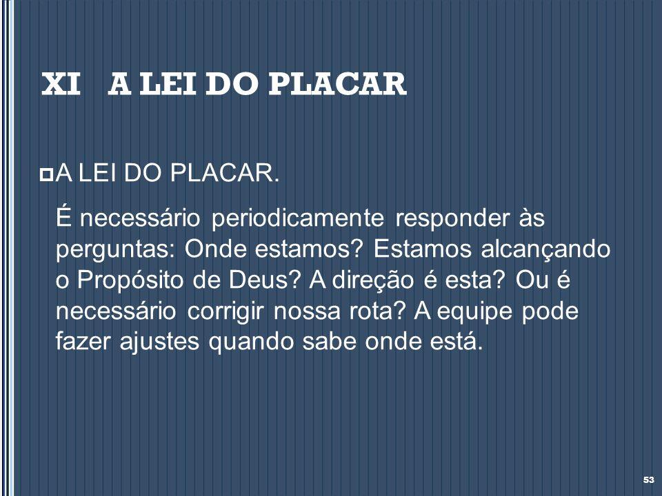 XI A LEI DO PLACAR A LEI DO PLACAR.
