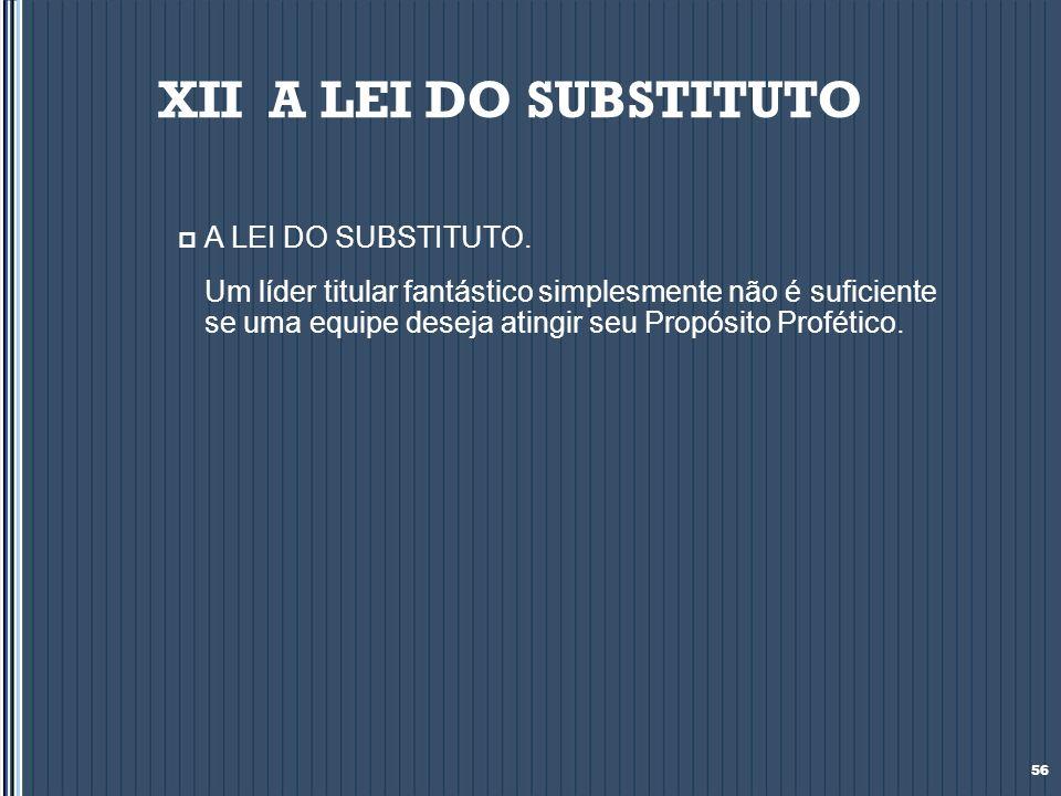 XII A LEI DO SUBSTITUTO A LEI DO SUBSTITUTO.