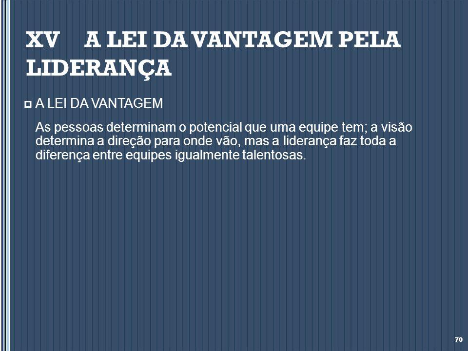 XV A LEI DA VANTAGEM PELA LIDERANÇA