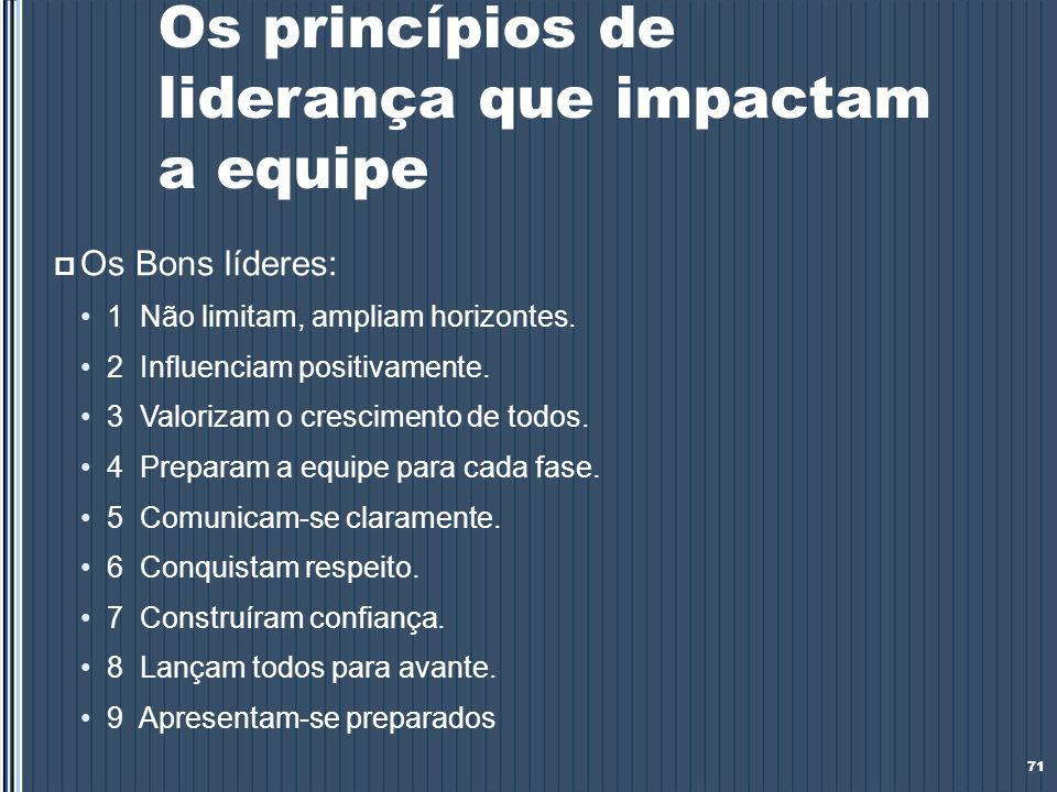Os princípios de liderança que impactam a equipe