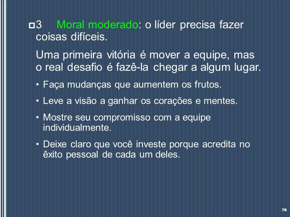 3 Moral moderado: o líder precisa fazer coisas difíceis.
