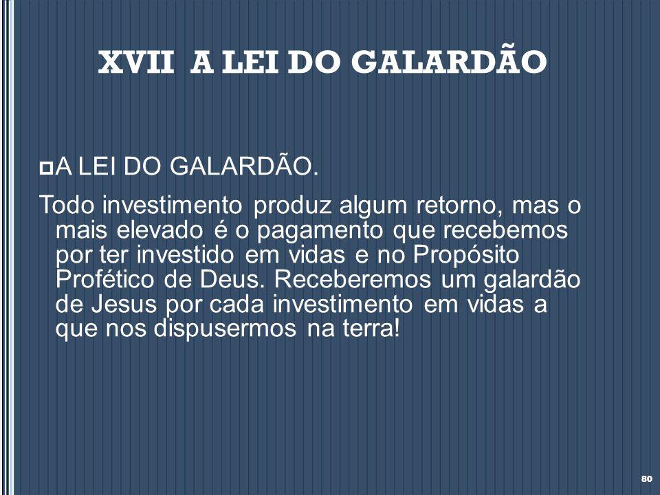 XVII A LEI DO GALARDÃO A LEI DO GALARDÃO.