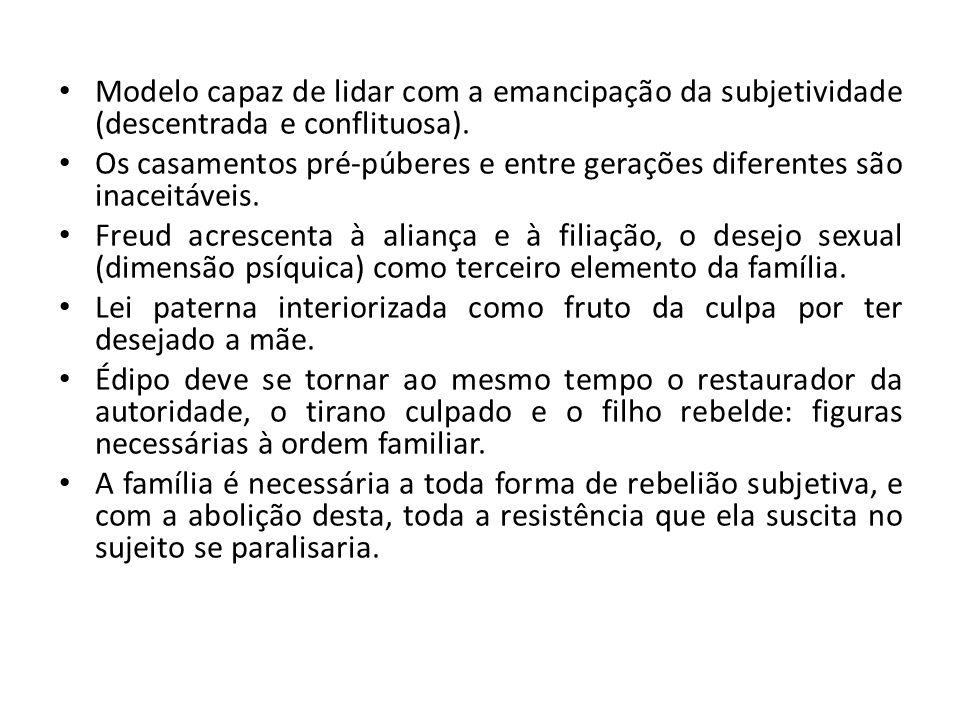 Modelo capaz de lidar com a emancipação da subjetividade (descentrada e conflituosa).
