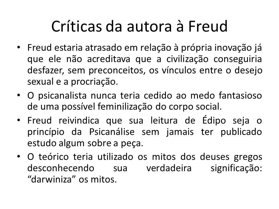 Críticas da autora à Freud