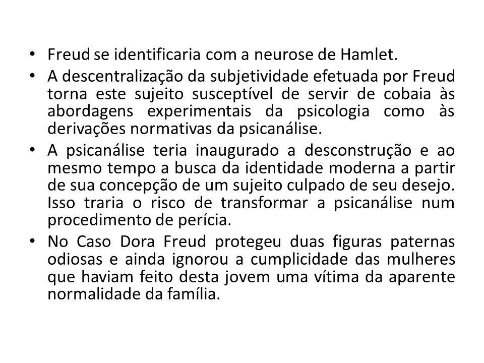 Freud se identificaria com a neurose de Hamlet.