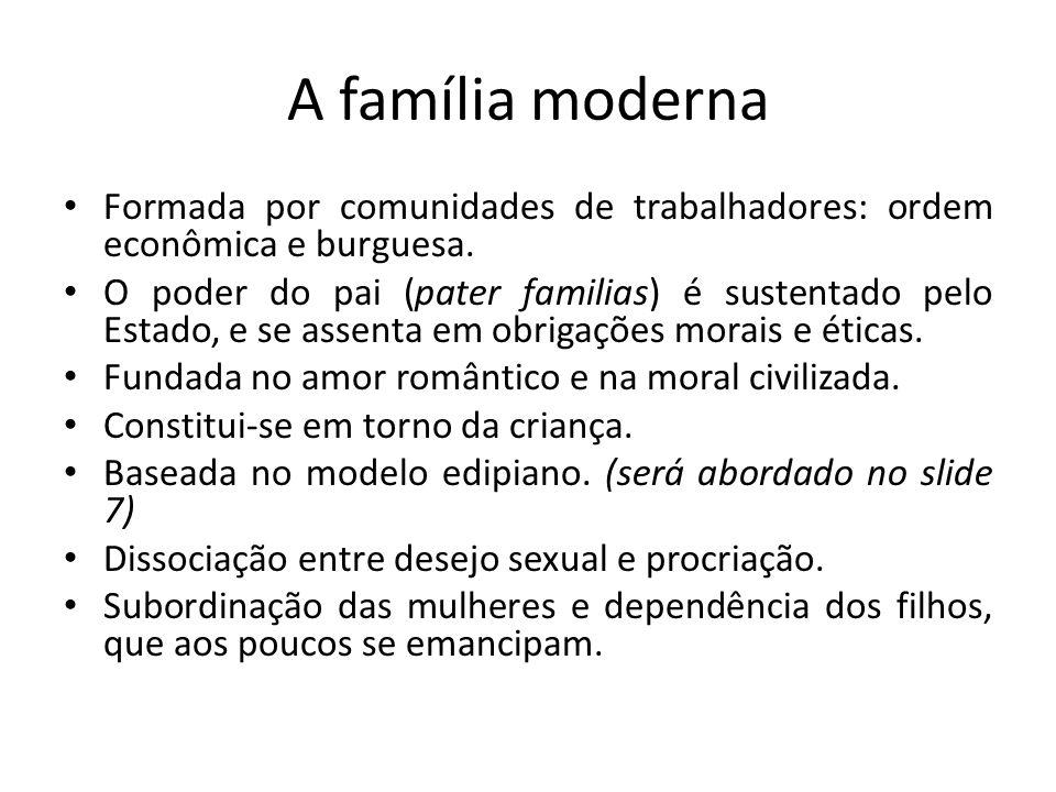 A família moderna Formada por comunidades de trabalhadores: ordem econômica e burguesa.