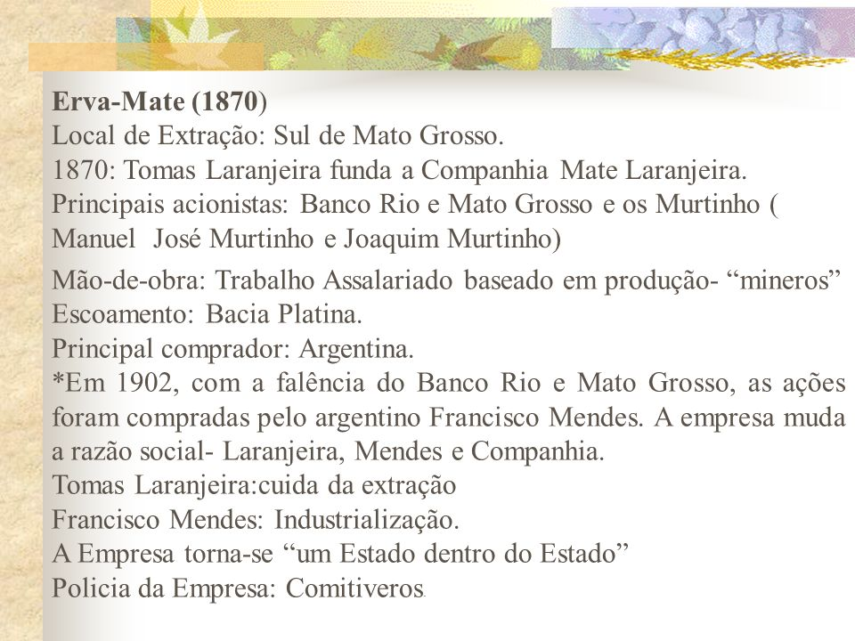 Erva-Mate (1870) Local de Extração: Sul de Mato Grosso. 1870: Tomas Laranjeira funda a Companhia Mate Laranjeira.