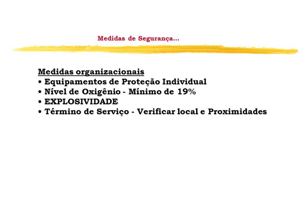 Medidas organizacionais • Equipamentos de Proteção Individual