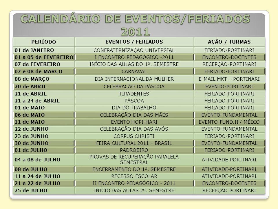CALENDÁRIO DE EVENTOS/FERIADOS 2011