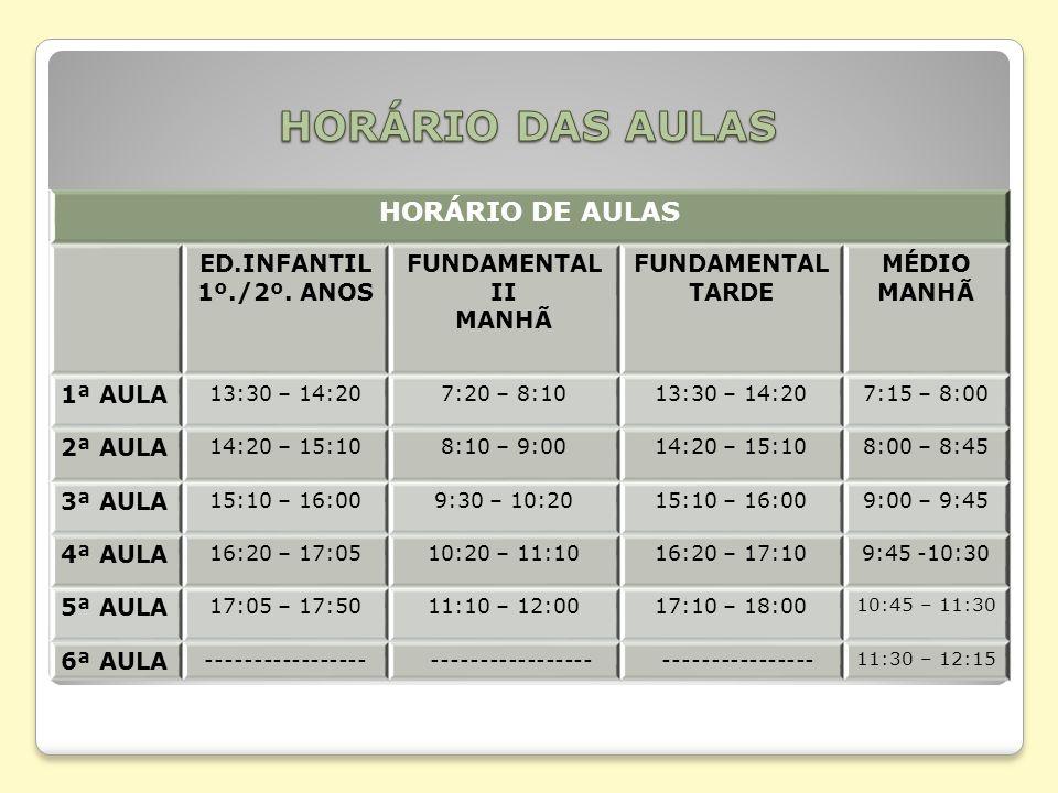 HORÁRIO DAS AULAS HORÁRIO DE AULAS ED.INFANTIL 1º./2º. ANOS