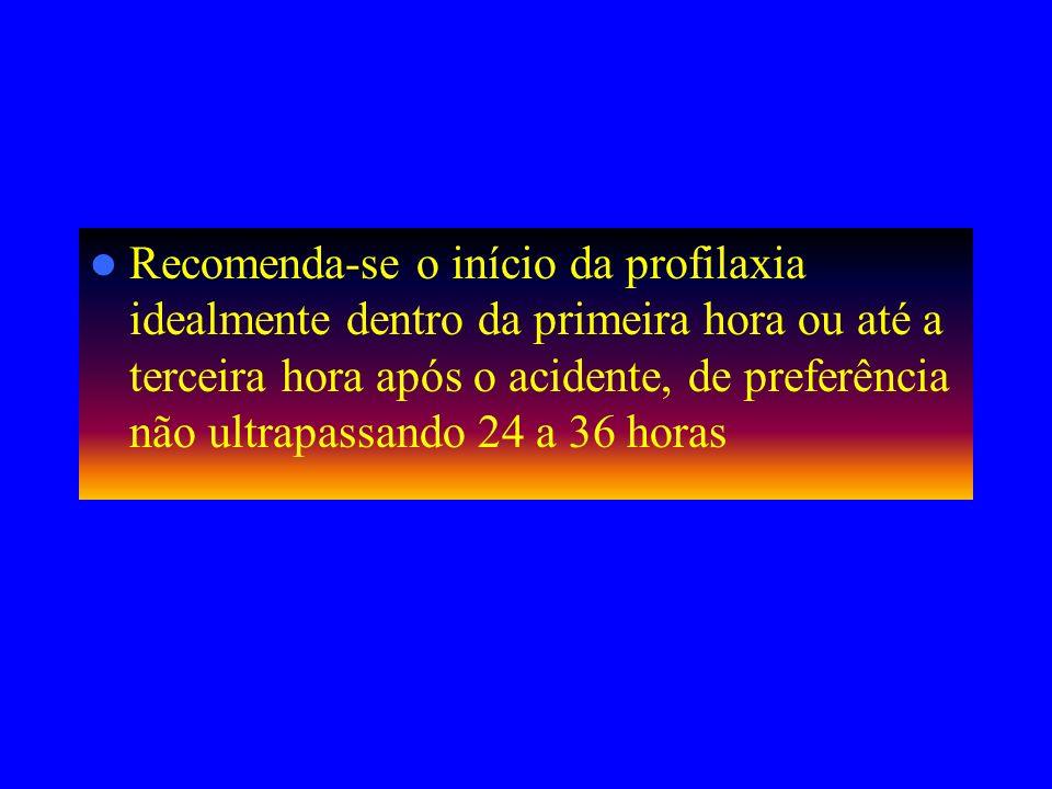Recomenda-se o início da profilaxia idealmente dentro da primeira hora ou até a terceira hora após o acidente, de preferência não ultrapassando 24 a 36 horas