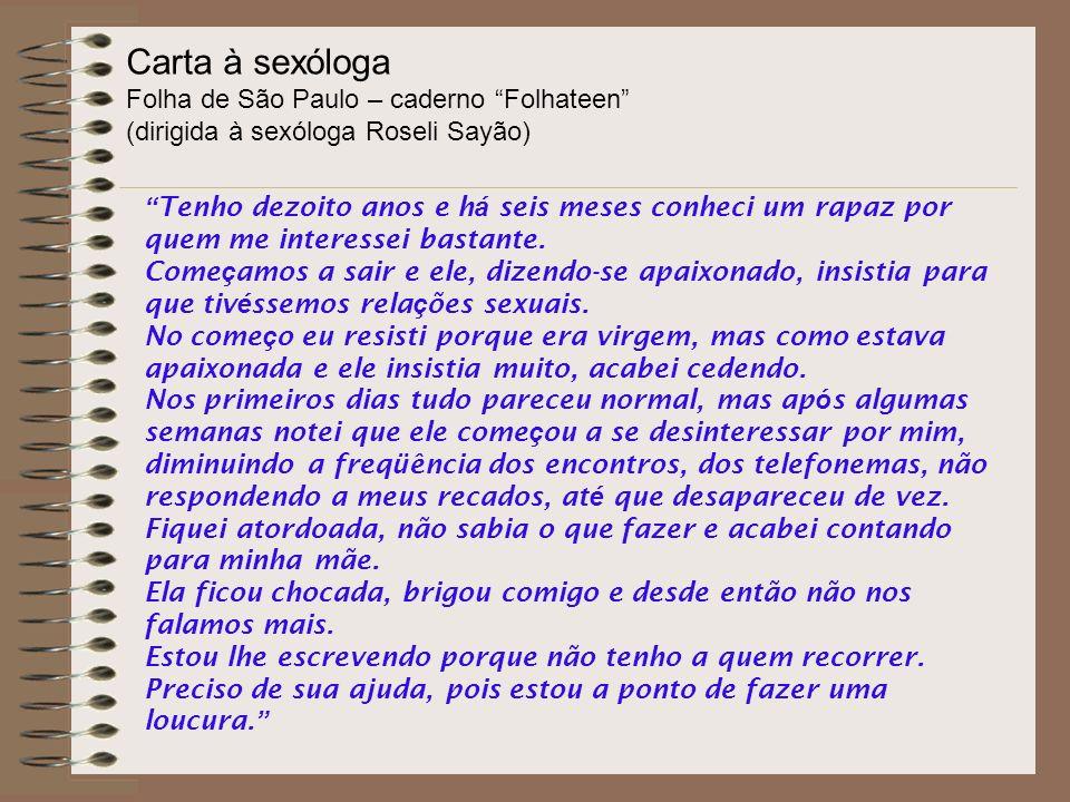 Carta à sexóloga Folha de São Paulo – caderno Folhateen