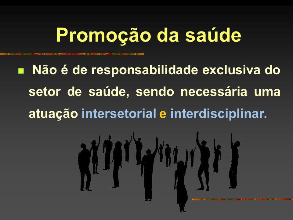 Promoção da saúdeNão é de responsabilidade exclusiva do setor de saúde, sendo necessária uma atuação intersetorial e interdisciplinar.