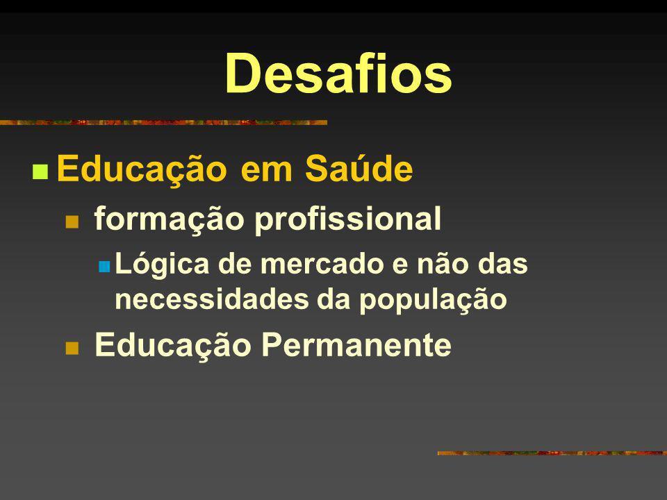Desafios Educação em Saúde formação profissional Educação Permanente