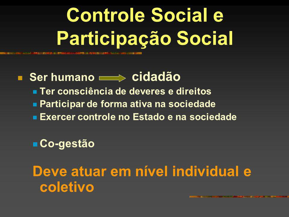 Controle Social e Participação Social