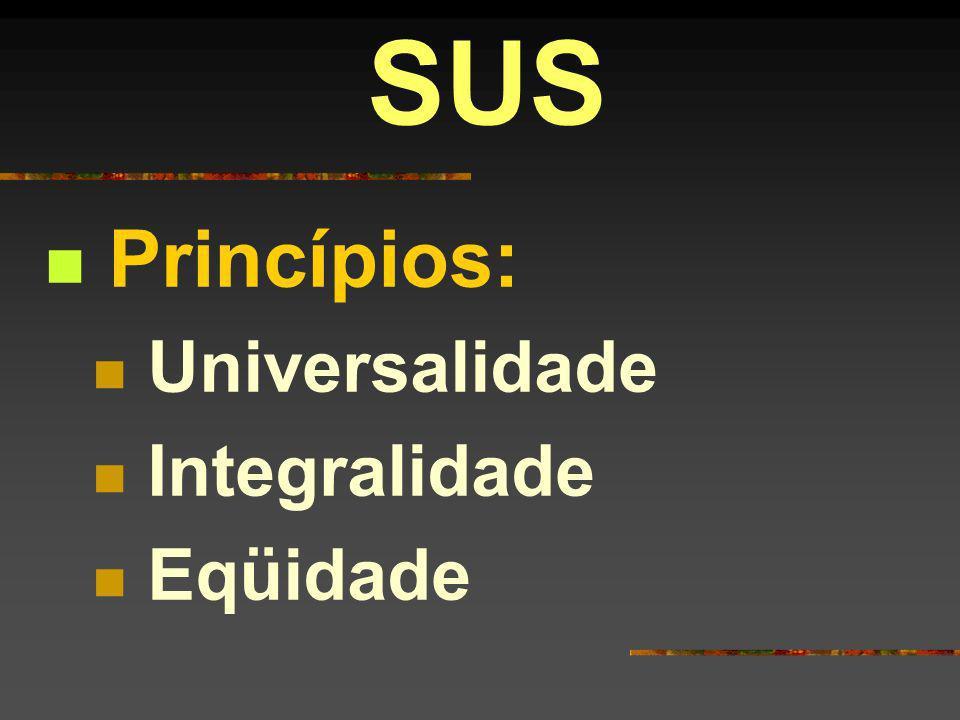 SUS Princípios: Universalidade Integralidade Eqüidade