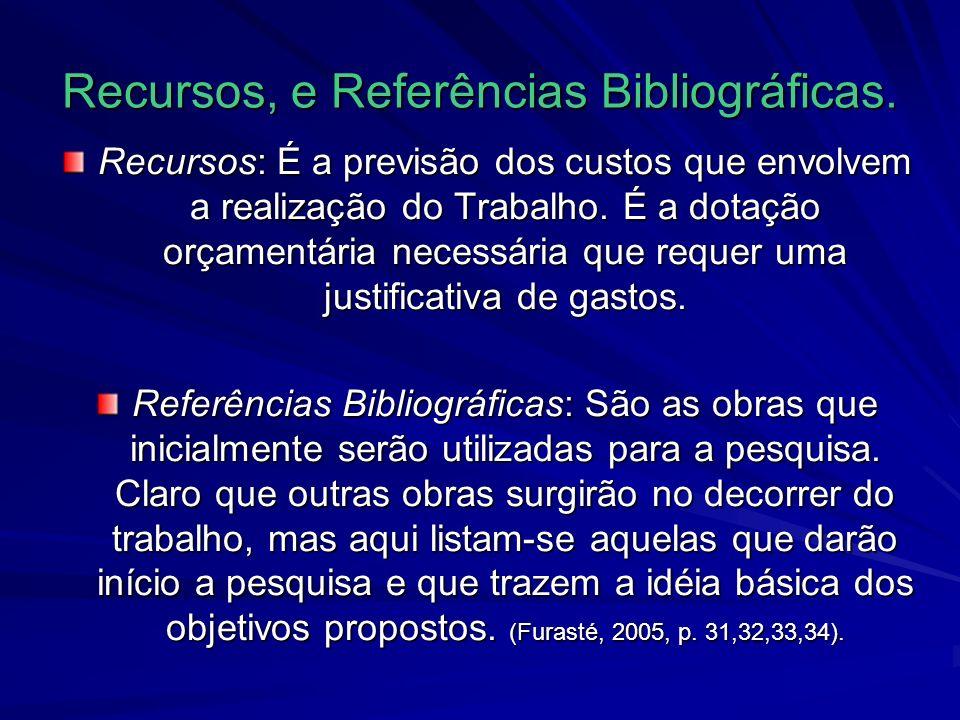 Recursos, e Referências Bibliográficas.