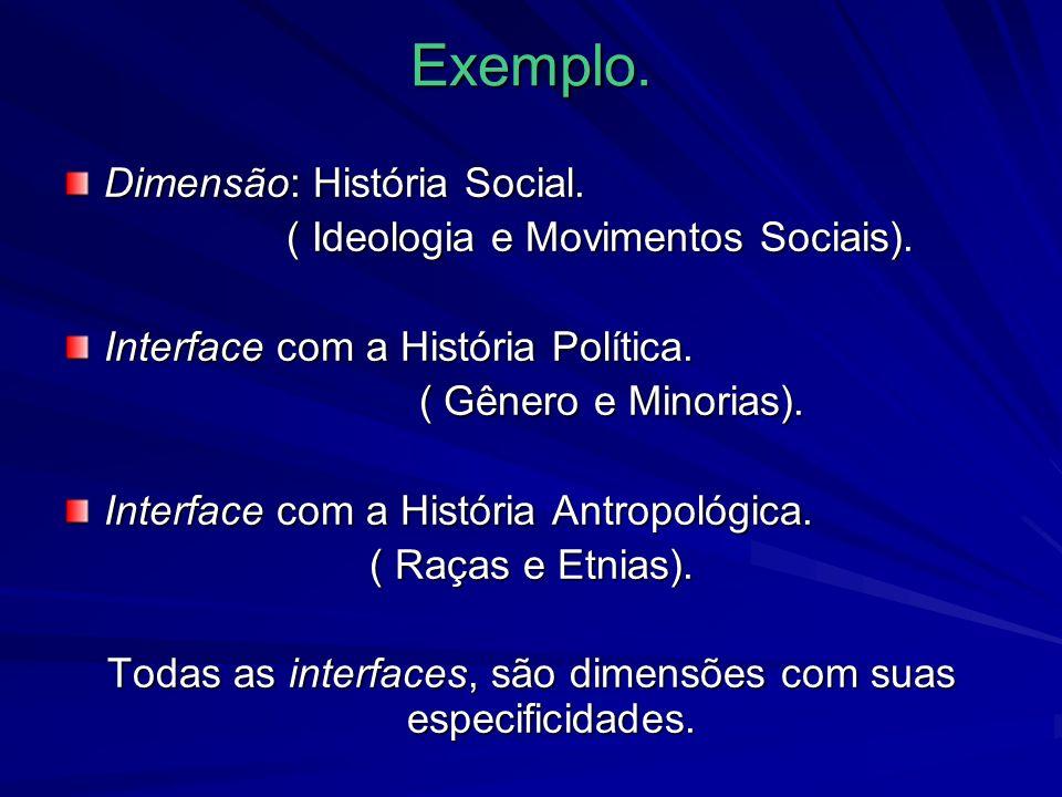Exemplo. Dimensão: História Social. ( Ideologia e Movimentos Sociais).