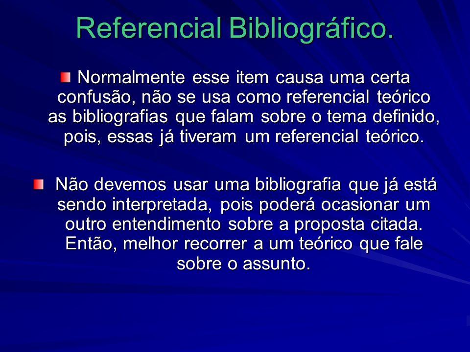 Referencial Bibliográfico.