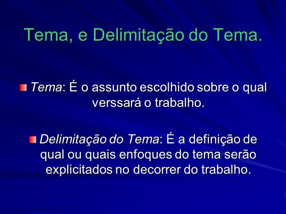 Tema, e Delimitação do Tema.