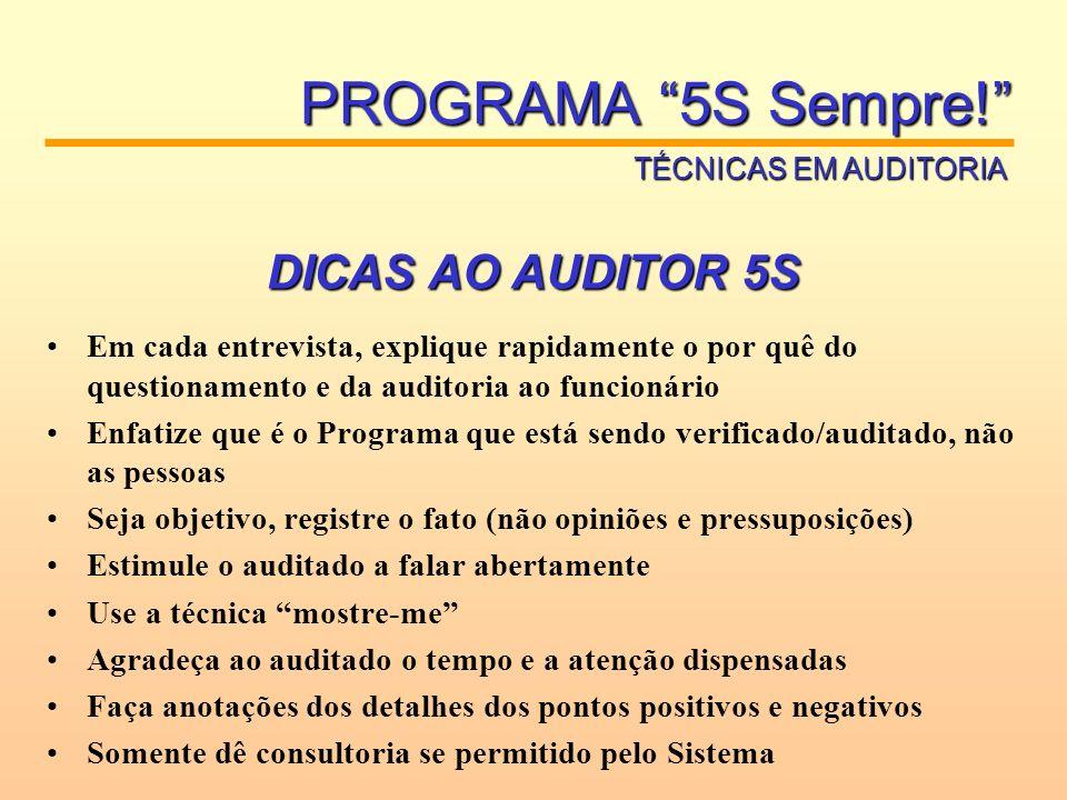 PROGRAMA 5S Sempre! DICAS AO AUDITOR 5S