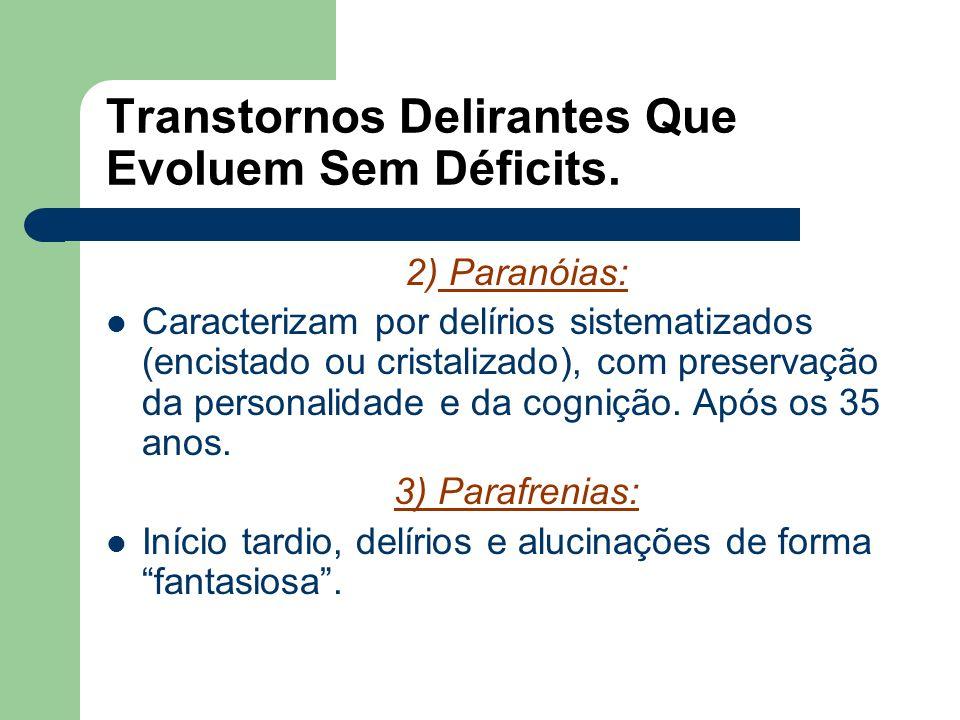 Transtornos Delirantes Que Evoluem Sem Déficits.