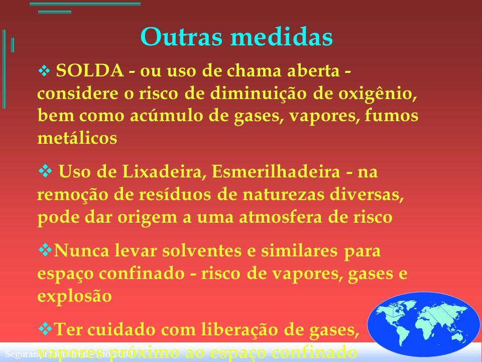Outras medidasSOLDA - ou uso de chama aberta - considere o risco de diminuição de oxigênio, bem como acúmulo de gases, vapores, fumos metálicos.