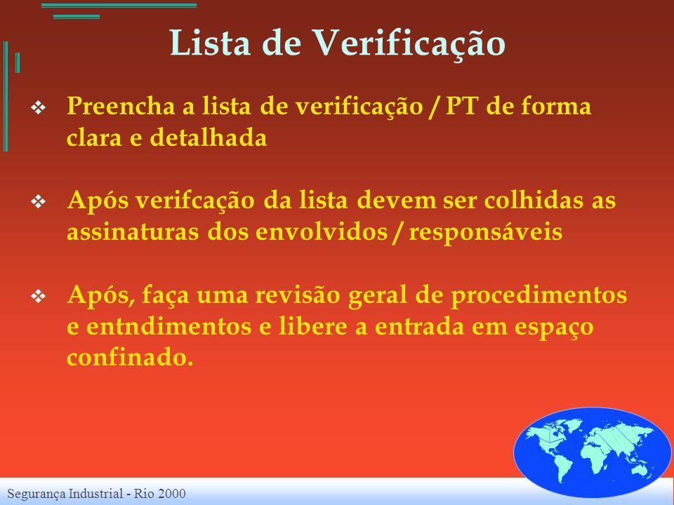 Lista de VerificaçãoPreencha a lista de verificação / PT de forma clara e detalhada.