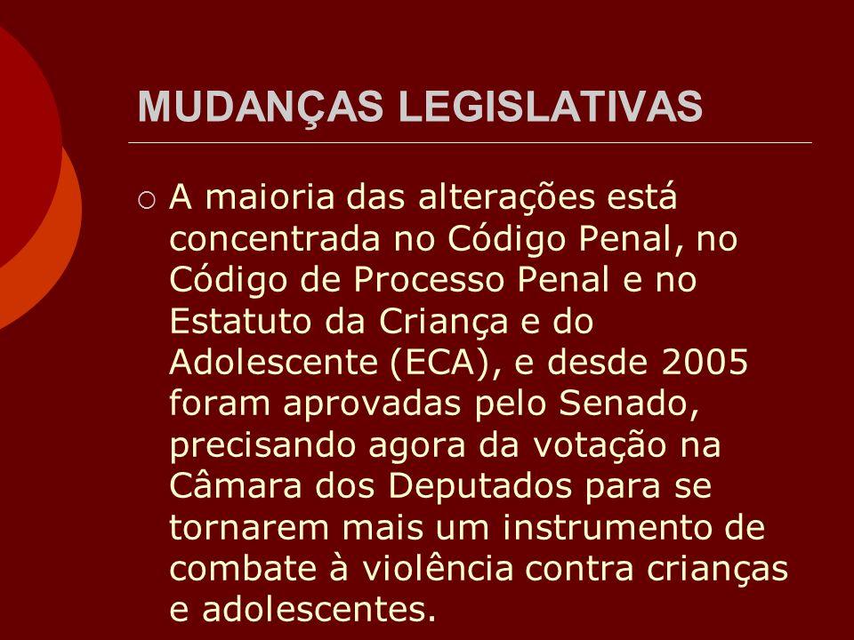 MUDANÇAS LEGISLATIVAS