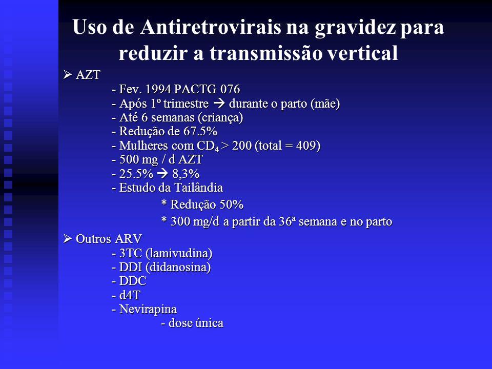 Uso de Antiretrovirais na gravidez para reduzir a transmissão vertical