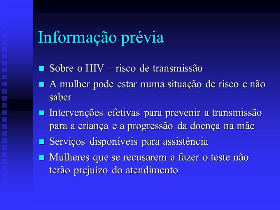 Informação prévia Sobre o HIV – risco de transmissão