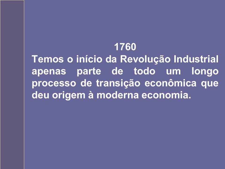 1760 Temos o início da Revolução Industrial apenas parte de todo um longo processo de transição econômica que deu origem à moderna economia.